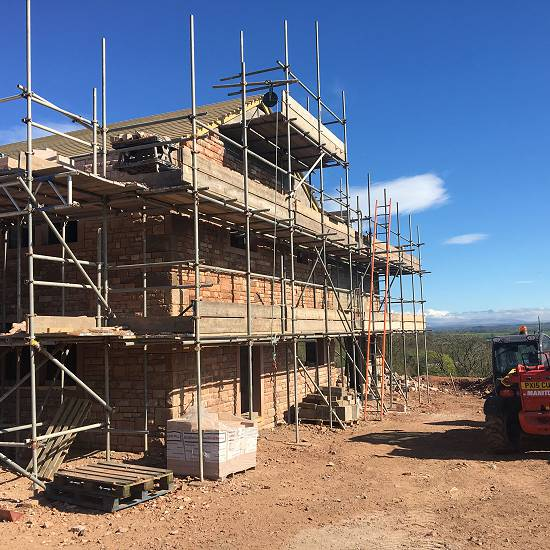 Work ongoing west elevation